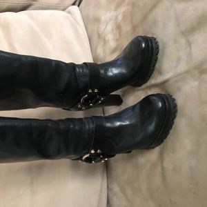 Leather Tory Burch Boots with lug-sole